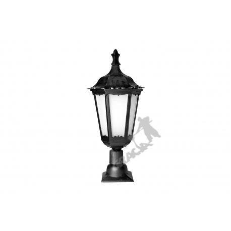 Lampa F02 na słupek z kloszem żeliwnym stylowym