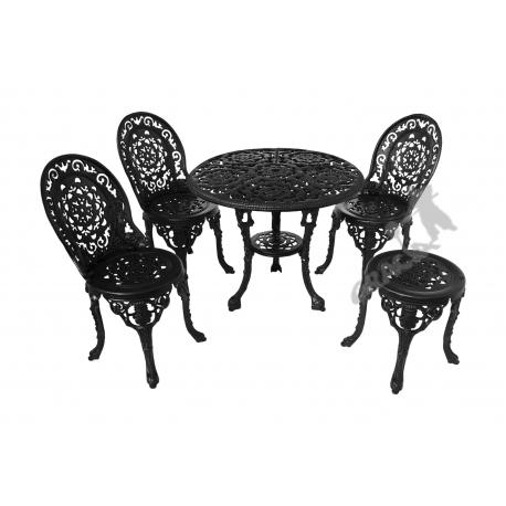 Zestaw nr 14 - stół ø 80 cm + 3 fotele koronkowe + 1 taboret koronkowy
