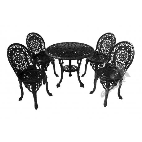 Zestaw nr 15 - stół ø 80 cm + 4 fotele koronkowe