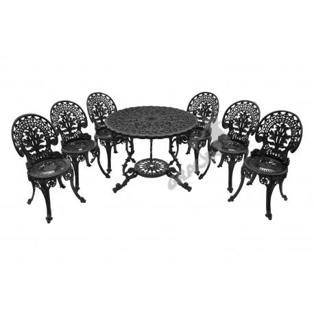 Zestaw nr 20 - stół ø 90 cm + 6 krzeseł lekkich