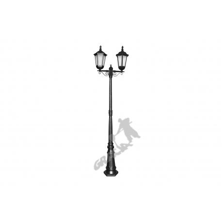 Lampa D05 z kloszem żeliwnym stylowym 2-ośw.