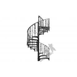 Schody kręcone Fi 2,00 m - CZARNE - 2 różne tralki