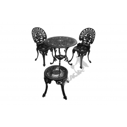 Zestaw nr 02 - stół ø 66 cm + 2 krzesła lekkie + 1 taboret lekki