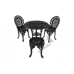 Zestaw nr 12 - stół ø 80 cm + 2 fotele koronkowe + 1 taboret koronkowy