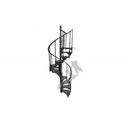 Schody kręcone Fi 1,22 m - CZARNE - 1 tralka na stopniu