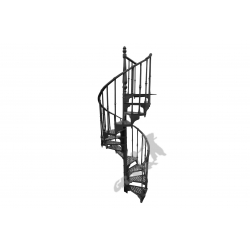 Schody kręcone Fi 1,22 m - CZARNE - 2 tralki na stopniu